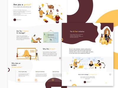 IQ Tests illustration iq typography web layout colorful web design
