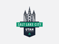 SLC, Utah Badge line icon salt lake city flat vector typography logo illustrator illustration building icon badge utah