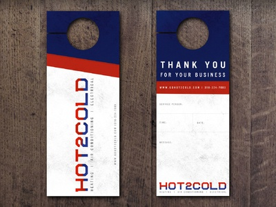 Hot2Cold door hangers logo door collateral branding print