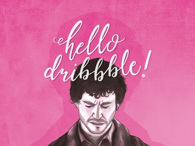 Hello Dribble! pink calligraphy type hand lettering illustration portrait hannibal will graham debut