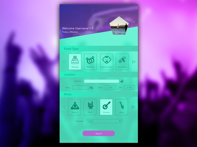 Mobile App Ui/Ux design for DJ Search Engine form search app mobile ui ux dj