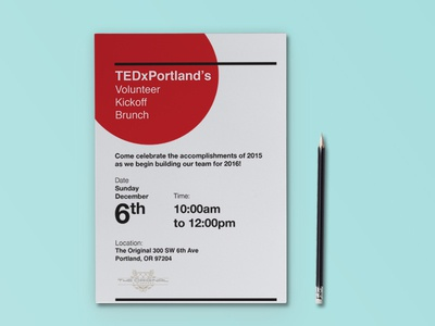TEDx Portland Invitation typography helvetica invitations events branddesign swissinspired tedx printdesign