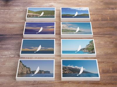 Adria Experience, business cards 02 adria experience sailing a sailboat boat blue sea adriatic business card creative