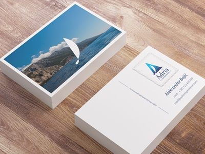 Adria Experience, business cards 01 adria experience sailing a sailboat boat blue sea adriatic business card creative