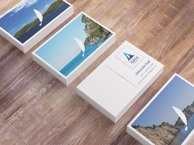 Adria Experience, business cards 03 adria experience sailing a sailboat boat blue sea adriatic business card creative