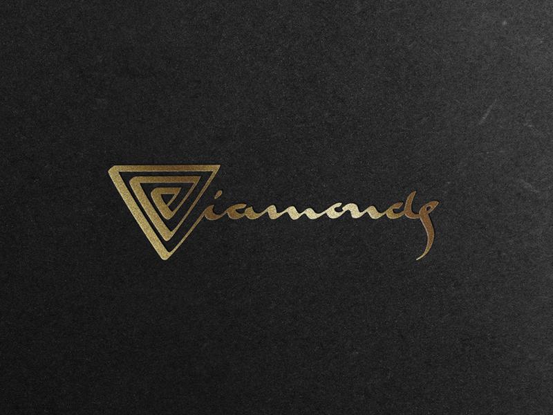 Diamonds V2 foil mine spiral jewelry typography type gold diamond elegant calligraphy
