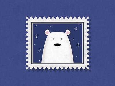 Polar Bear Stamp Illustration blue bear christmas winter north snowflake snow polarbear effects illustration vector stamp