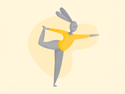Namaste! yoga pose bunny yellow yoga effects vector illustration
