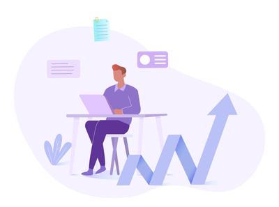 Founder Program business tech upgrade level up design ui minimal web flat vector illustration