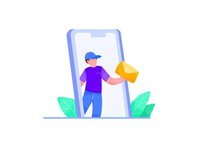 Mail Man mailer mail mobile branding website illustrator app minimal ui design web flat vector illustration