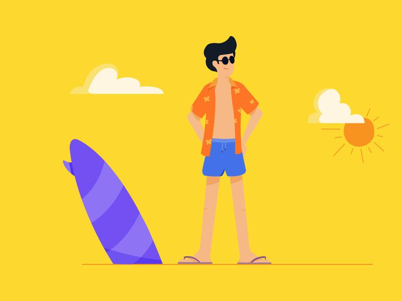 Into the Beach summer glass wave clouds sunny surf board shorts shirt beach ux branding website app minimal ui character web flat vector illustration