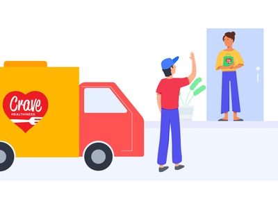 Food Delivery food app van man women app delivery meal food ux illustrator ui design character web flat vector illustration