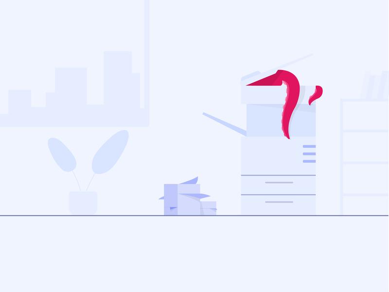 Broken Xerox website minimal illustrator design ui vector web character octopus animation cartoon design flat illustration cartoon character office xerox