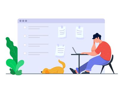 Work Overload character vector minimal cartoon design work desk laptop dog bored designer freelancer stressed cartoon character ui web flat illustration