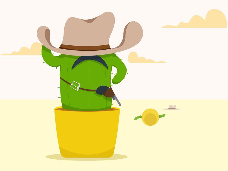 Cowboy web vector illustration 2d cartoon summer hat west wild dead fight gun cowboy cactus
