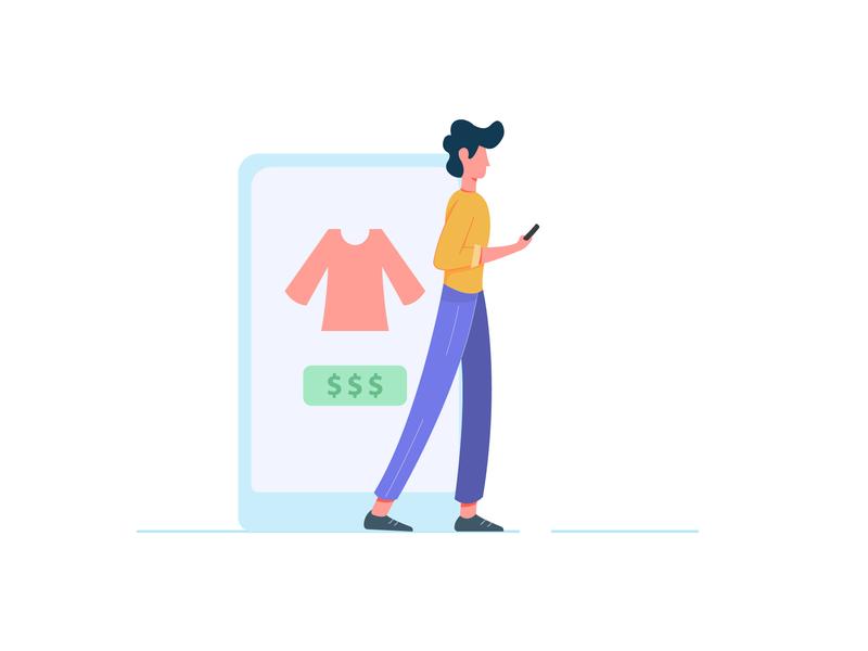 Online Shopper shopping shop ecommerce app minimal character cartoon character flat cartoon design web vector illustration