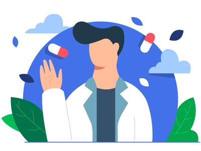 Welcome design flat welcome doctor medicine health app healthcare ui vector illustration