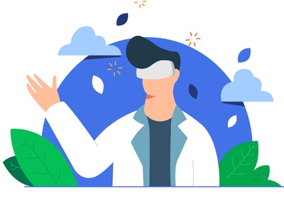 Virtual Relaity doctor virtualreality vr cartoon design character design illustrator healthcare minimal app ui flat web vector illustration