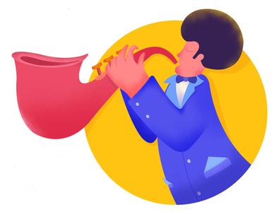 Jazz musician saxophone jazz cartoon character character flat vector illustration