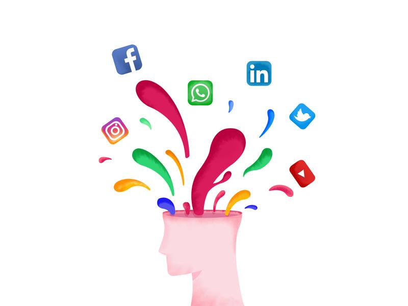 Burst burst ideas social network brainstorm design flat vector illustration