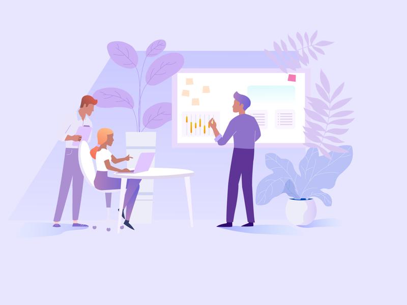 Home Page minimal vector flat web character cartoon design illustration