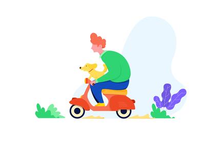 Scooter design cartoon character cartoon design character website web ride scooter dog boy flat vector illustration