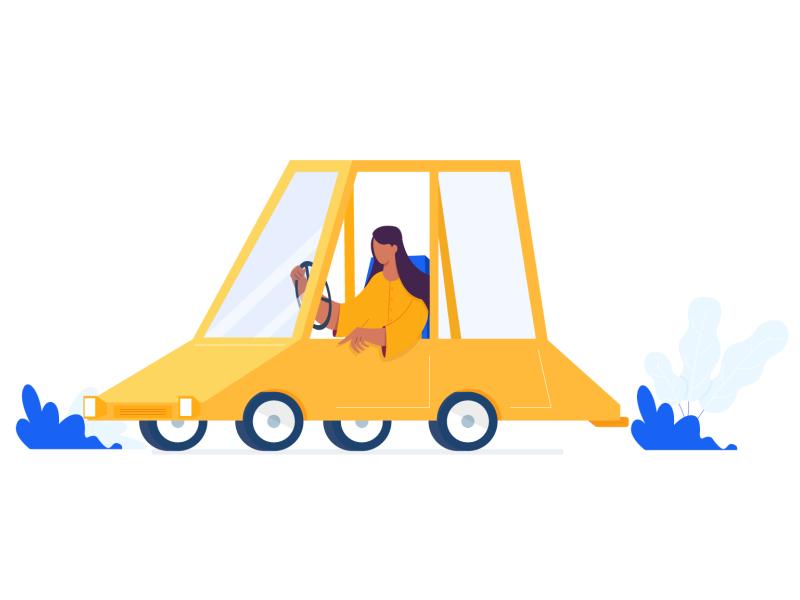 Driving Car women car website illustrator ui minimal design cartoon character web flat vector illustration