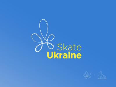 Skate Ukraine ukraine symbol tracks skate minimalistic logo skating ukraine ice chestnut minimal logo