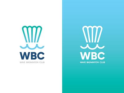 Wave Badminton Club sea color shuttlecock branding logo sport badminton wave