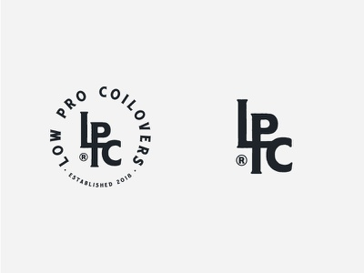 Low Pro Coilovers monogram logo coilsprings type vintage letters stamp branding logomark