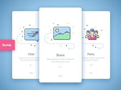 Burble Mobile Ui Kit - Walkthrough walkthrough material design flat design colorful chat design sketch ios app mobile ui kit ui