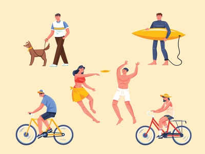 Leisure activities mans girls beach freedownload stocks bycicle activities leisure people