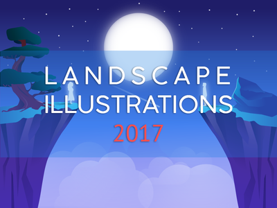 Landscape Illustrations 2017 on Behance link project behance moon landscape vector illustration