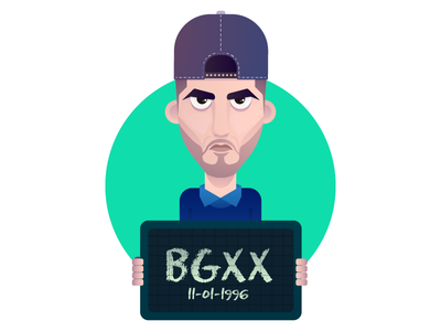 BGXx humour face green shirt cap hat angry cell man vector design character