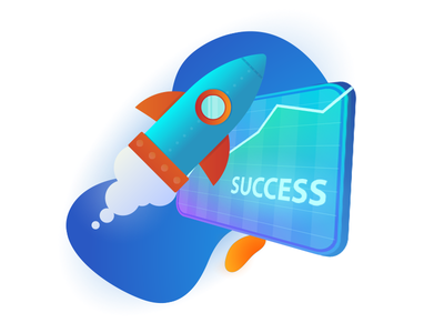 Startup infographic illustration vector success progress graph rocket