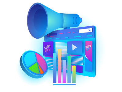 Digital Campaign colors charts graphs megaphone web graphics icon illustration vectir campaign digital
