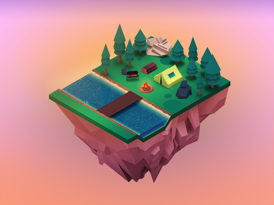 Isometric camp woods land 3d art forest lowpoly illustration 3dillustration modeling c4d isometric camp