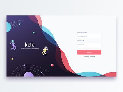 Kalo-login web freelancer aliens ui app design branding illustration