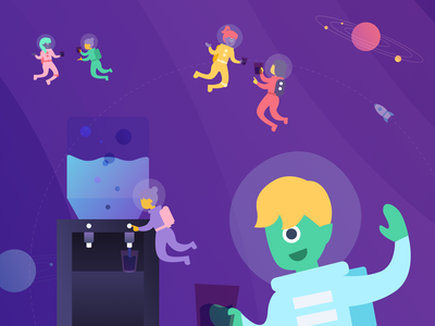 Welcome to Kalo WaterKooler branding design animation purple cute universe outerspace space theme space aliens illustration chat freelancer watercooler