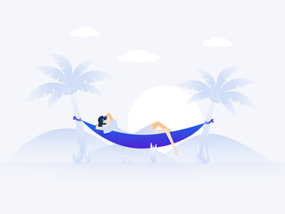 Relax usertesting beach vacation rest chill relax emptystate design app branding illustration characer