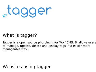 Tagger Webpage website