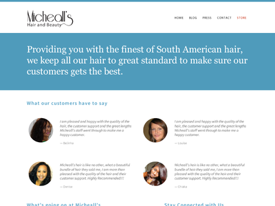 Micheall's Hair and Beauty redesign silent works hair site web