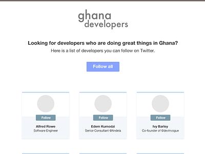 Ghana Developers Homepage peeling pixels web site social ghana