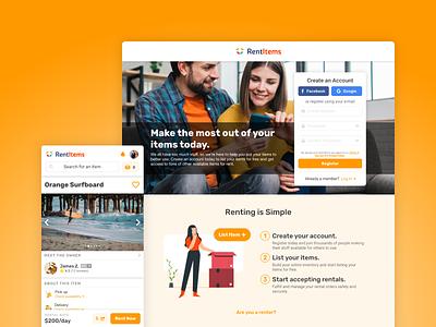 Rent Items: Rental Marketplace renting marketplace p2p registration startup sustainability sharing economy rentals rent rentitems login orange ux ui webapp web