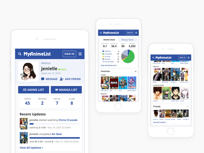 Daily UI 006: User Profile mal myanimelist my anime list manga list tracking anime figma statistics minimal profile user user profile mobile dailyui daily ui challenge