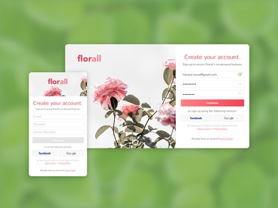 Daily UI 001: Sign Up 🌸 pink sign up daily ui interface web challenge daily ui flowers floral dailyui