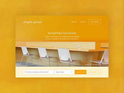 Daily UI 003: Landing Page daily ui page landing search spaces office coworking yellow orange
