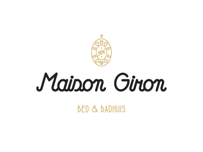 Logo Maison Giron logo design bed and breakfast bb calligraphy white black gold ornament graphic design logo