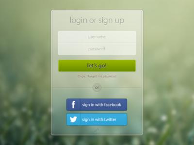 Login / Sign up form