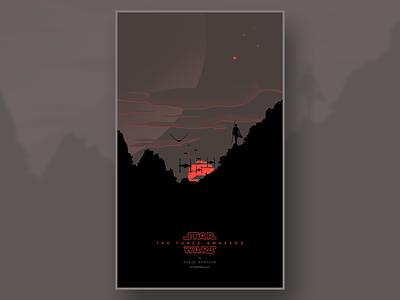 Rey on sunset design illustration poster starwars